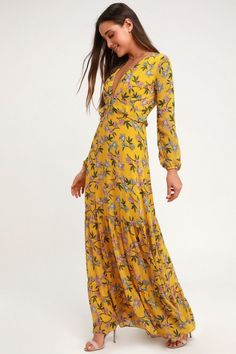 Grow to your full potential in the Lulus Thrive Together Yellow Floral Print Long Sleeve Maxi Dress! Gauzy floral print maxi dress with long sheer sleeves. Yellow Maxi Dress, Floral Print Maxi Dress, Maxi Wrap Dress, Maxi Dress With Sleeves, Floral Dresses, Trendy Dresses, Blue Maxi, Long Dresses, Dress Long
