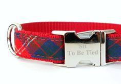 Tartan Dog Collar, holiday dog collar, red dog collar, plaid dog collar, royal blue, Christmas dog collar, winter dog collar - pinned by pin4etsy.com