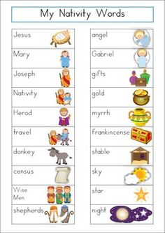 Word Wall - Christmas Nativity Words {36 words} FREE. Includes a personal word wall for students, a file-folder word wall for the writing/word work center and big cards for the classroom wall in color and black and white.