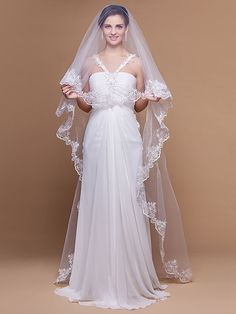 Wedding Veil One-tier Cathedral Veils Lace Applique Edge Scalloped Edge 106.3 in (270cm) Tulle White IvoryA-line, Ball Gown, Princess, - USD $9.99 ! HOT Product! A hot product at an incredible low price is now on sale! Come check it out along with other items like this. Get great discounts, earn Rewards and much more each time you shop with us!
