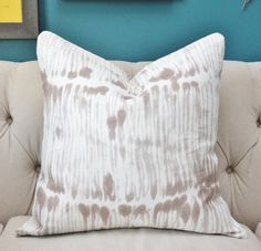 Swirled Stripe in Taupe Pillow Cover - Bohemian Pillow - Block Print Modern…