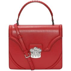 Alexander McQueen Calf Leather Flower Satchel ($2,245) ❤ liked on Polyvore featuring bags, handbags, brick, flower purse, red purse, red cross body purse, crossbody satchel and red satchel purse
