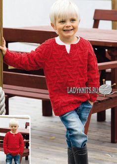 Вязаный спицами пуловер с интересным узором для мальчика от 5 до 18 лет
