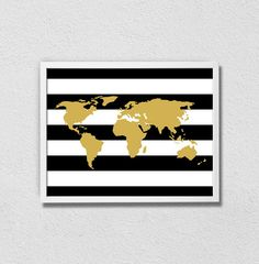 """Black and Gold World Map. Wanderlust and Travel. Modern minimalist Poster. Bedroom Decor. Office Decor. Girly. Stripes. 8.5x11"""" Print. on Etsy, $15.00"""