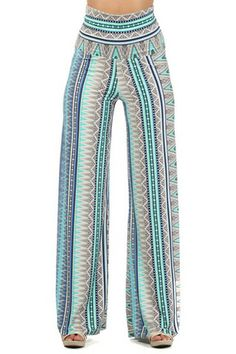 Going the Distance Palazzo Pants - Mint + Periwinkle
