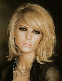 Jessica Simpson Novel and Alluring Mid-length Layered Wavy Lace Human Hair Wig about 12 Inches with Bangs
