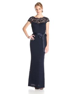 Adrianna Papell Women's Shutter Tucked Tulle Gown with Lace Illusion Neckline, Ink, 4. Illusion neckline long gown. Shutter tucked. V-neck gown.