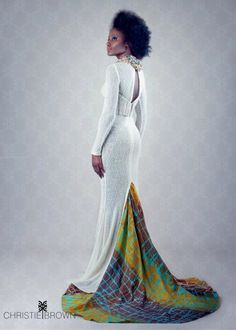 Just a touch of ankara to my traditional white wedding dress..Maybe the guys could have matching ties to the pattern...xxx
