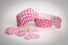 Pirottini CUPCAKE base di carta pois bianco/rosa  di buyititaly su DaWanda.com