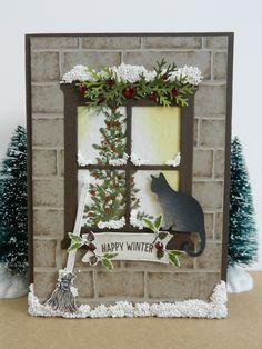 En dan nu het winterkaartje met de 'Hearth & Home' Thinlits van Stampin'Up! Nu heb ik achter het raam een kerstboom gezet. Deze stempel ko...