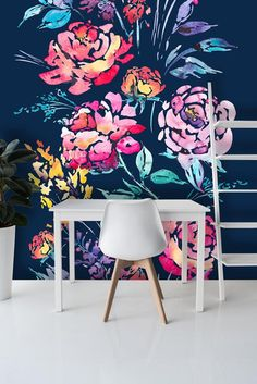 Wallpaper Mural Tricks: How to Choose and Install Mural Art, Wall Murals, Wallpaper Murals, Hm Deco, Color Palette Generator, Peony Flower, Colorful Wallpaper, Cheap Home Decor, Decoration