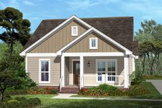 Cottage Style House Plan - 3 Beds 2 Baths 1375 Sq/Ft Plan #430-41 Exterior - Front Elevation - Houseplans.com