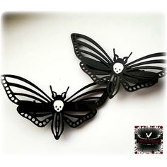 Death Moth Hair Clips ($10) ❤ liked on Polyvore featuring accessories, hair accessories, barrette hair clip, white hair clips, butterfly hair clips, white hair accessories and goth hair accessories