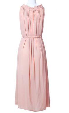Apricot Sleeveless Belt Chain Pleated Chiffon Dress pictures