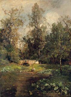 """Emil Jakob Schindler - Austrian (1842 - 1892) """"Landscape at Hacking"""""""