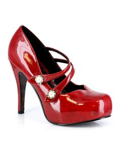 Look what I found on #zulily! Red Strappy Jin Pump by Bettie Page #zulilyfinds