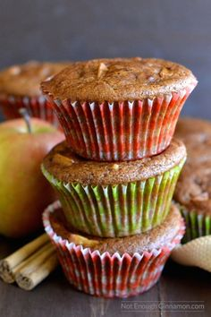 Skinny Apple Spice Muffins, loaded with apple chunks and apple pie spices! Gluten free and refined sugar free | Find the recipe on NotEnoughCinnamon.com