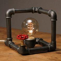 tischleuchte im industriestil metall stahl rohr dunkelgrau tischlampe schreibtischleuchte würfelform