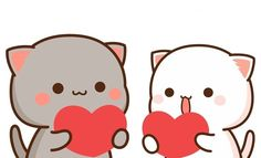My Amazing Boyfriend, Cute Bunny Cartoon, Chibi Cat, Cat Couple, Funny Baby Quotes, Friend Anime, Cartoon Posters, Cute Images, Cute Gif