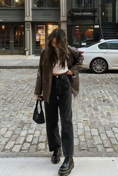 Indie Outfits, Retro Outfits, Cute Casual Outfits, Teen Fashion Outfits, Casual Outfits For Winter, Cute Outfits For Fall, Korean Winter Outfits, Fashion Ideas, Cool Girl Outfits