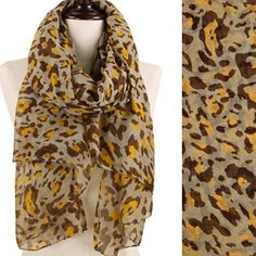 "Leopard Animal Print Oversized Scarf Leopard Pattern Printed Oversized Scarf  Approx. 42""W x 68""L  Yellow and Brown Accessories Scarves & Wraps"