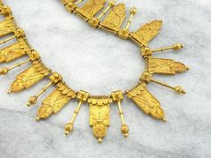 Amazing Etruscan Revival Gothic Necklace, Statement Antique Collar 3P6T85-P
