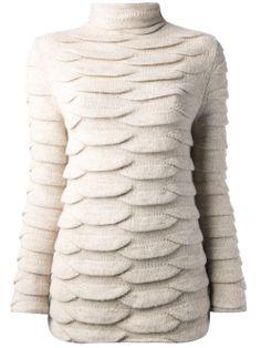 Ann Demeulemeester Roll Neck Sweater in Beige / Ecru / off white