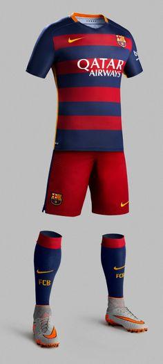 Equipación 2015/16 del FC Barcelona #Fútbol #Camisetas #Barcelona #Nike