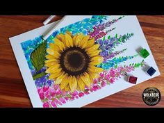 Sunflower & Delphinium Flowers(Larkspur) | Watercolor & Acrylic | Mixed Media | Relaxing | Painting - YouTube Delphinium Flowers, The Creator, Mixed Media, Relax, Inspire, Watercolor, Youtube, Painting, Art