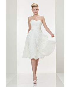 Theia Strapless Organza Cocktail Dress in White Fall Wedding Dresses, Elegant Wedding Dress, Wedding Dress Styles, Bridal Dresses, Bridesmaid Dresses, Tight Dresses, Nice Dresses, Strapless Organza, Traditional Wedding Attire