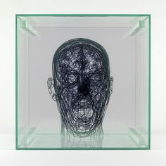 Angela Palmer ink self portrait single scream