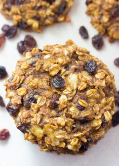 Oatmeal Banana Raisin cookies are all natural, gluten free and sugar free. Great snack for those on a lowfat diet
