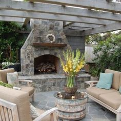 Patio Fireplace with Pergola