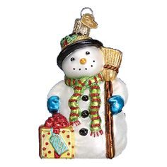 Gleeful Snowman Glass Ornament