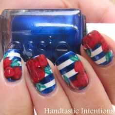 Handtastic Intentions: Nail Art: Patriotic Roses #BodyToolz #nails