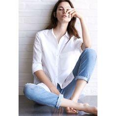☆ Fashion Gone rouge Girls White Shirt, White Shirt And Blue Jeans, Crisp White Shirt, White Shirts, Blue Jean Outfits, Fashion Gone Rouge, Fashion Photography Poses, Corset, Nautical Fashion