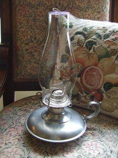Aladdin Kerosene Oil Hurricane Lamp with Pewter by KnightandNole, $38.00 Hurricane Lamps, Wine Decanter, Aladdin, Country Living, Pewter, Barware, Vase, Oil, Lights