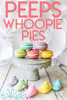 Peeps Whoopie Pies! These sandwich cookies are made with soft sugar cookies in classic Peeps colors, filled with homemade marshmallow, and rolled in colored sugar. The perfect Easter cookie!