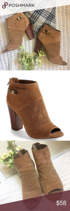 """💕Host Pick💕Dolce Vita Perforated Open Toe Bootie I adore these! They are so chic- a perforated cut style in the perfect shade (""""cafe"""") of beige/brown that goes with everything! ▪️In good condition- some typical wear on bottom, and one knick on the back if the wood stacked heel (see photo). The leather is clean and looks great! Genuine suede! ▪️Heel is 3.75"""". DV by Dolce Vita Shoes Ankle Boots & Booties"""