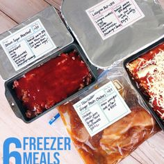 How to prep six freezer meals in an hour (including clean up) - Brown Sugar Meatloaf, Lasagna Roll Ups, Slow Cooker Ginger Peach Chicken Slow Cooker Freezer Meals, Make Ahead Freezer Meals, Crock Pot Freezer, Freezer Cooking, Slow Cooker Recipes, Easy Meals, Cooking Recipes, Chicken Freezer Meals, Meals To Freeze