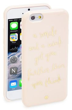 Free shipping and returns on kate spade new york 'a smile and a wink' iPhone 6 case at Nordstrom.com. A cheeky quote adds signature cosmopolitan flair to a hard-shell iPhone case that keeps your tech chic and scratch-free.
