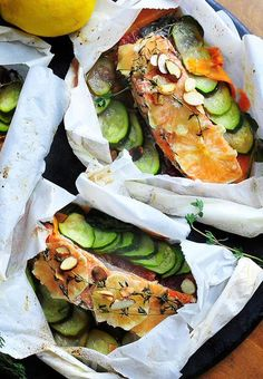 Simply Gourmet: Parchment Poached Salmon Pouches for a Quick Shabbat Dinner-- ready in 20 minutes Salmon Recipes, Fish Recipes, Seafood Recipes, Cooking Recipes, Healthy Recipes, Cooking Tips, Healthy Foods, Cooking Quotes, Cooking Steak
