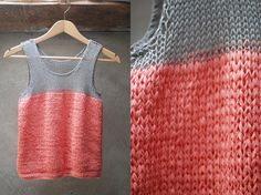 HAND knitted tank top in gray and coral