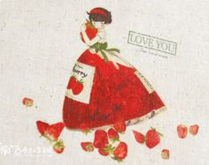 Vintage hand printed fabric, linen cotton fabric, cotton linen fabric, strawberry lady, 7.8 x 7.8 inch or 20x20cm