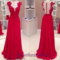 2016 red lace chiffon prom dress