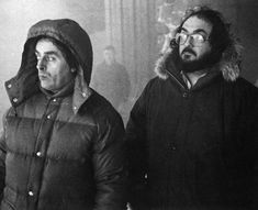 Stanley Kubrick with Director of Photography John Alcott on the set of The Shining. Alcott recalled that with the exception of exterior snow effects scenes, there were never more than ten or so crew members on the set at any one time. Kubrick liked to keep a lean crew to save money, insuring that he could work at his own pace without fear of running over budget. Courtesy of Lee Unkrich's The Overlook Hotel