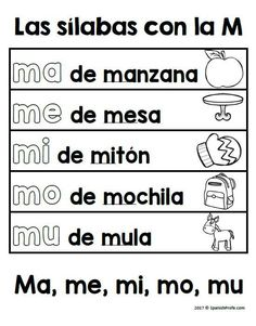 Activities, centers and writing activities in Spanish that go with the Spanish syllables ma me mi mo mu. Ideal for bilingual, dual language and Spanish immersion classes. Great for preschool or Kindergarten classes.
