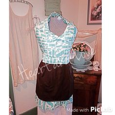 A personal favorite from my Etsy shop https://www.etsy.com/listing/227341410/womens-teal-and-brown-alphebet-apron