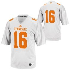 adidas Tennessee Volunteers  16 Replica Football Jersey - White Tennessee  Football 247d7b7a2