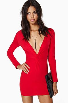 Nasty Gal Knot Over You Dress - Red